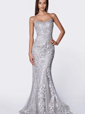 Model wears silver lacy dress