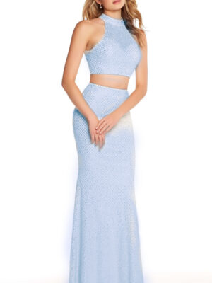 periwinkle dress on model