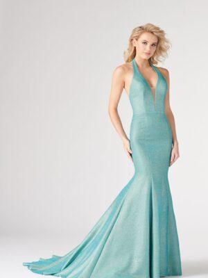 teal mermaid dress on model