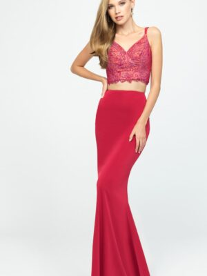 Two-piece red gown