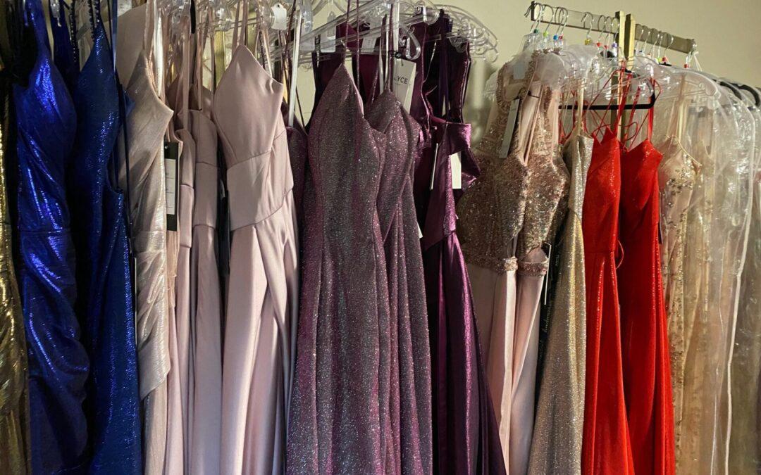 row of formal dresses