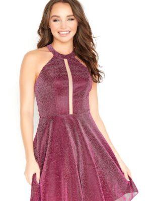 short burgundy dress on model