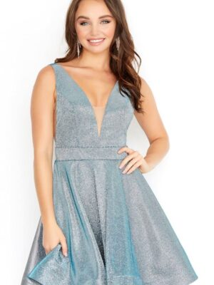 gunmetal dress on model