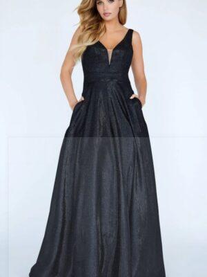 shimmery black dress on model