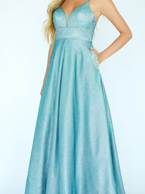 blue shimmery gown