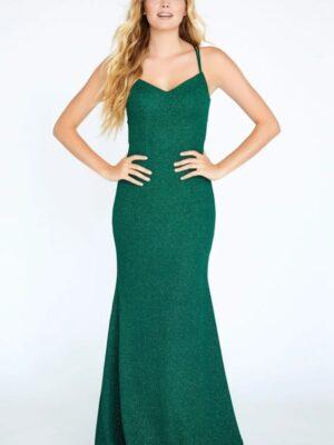 hunter green gown on model