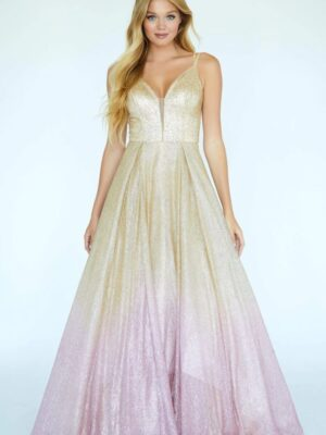 ombre ballgown on model