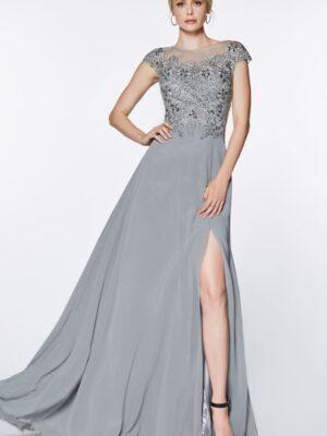 silver dress on model