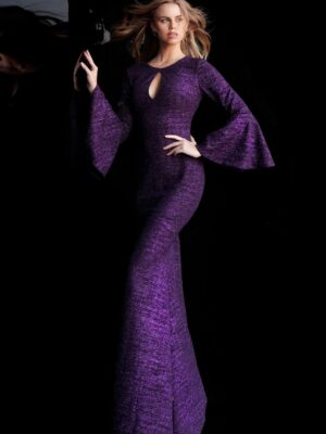 long-sleeved gown on model