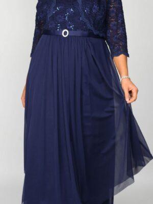 Long navy dress on model