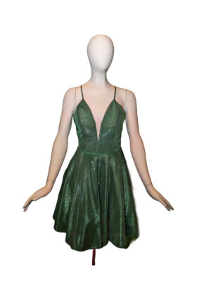 shiny green dress on mannequin