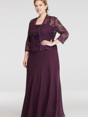 mother's dress in eggplant