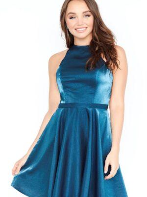 teal dress on model