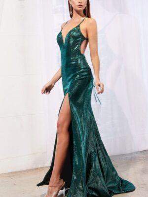 emerald metallic dress