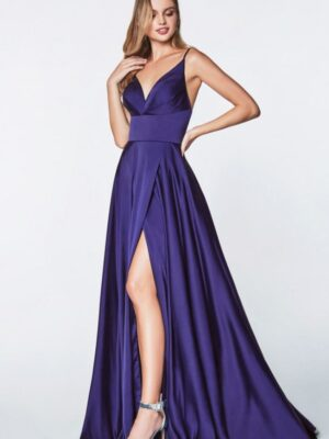 purple satin gown on model