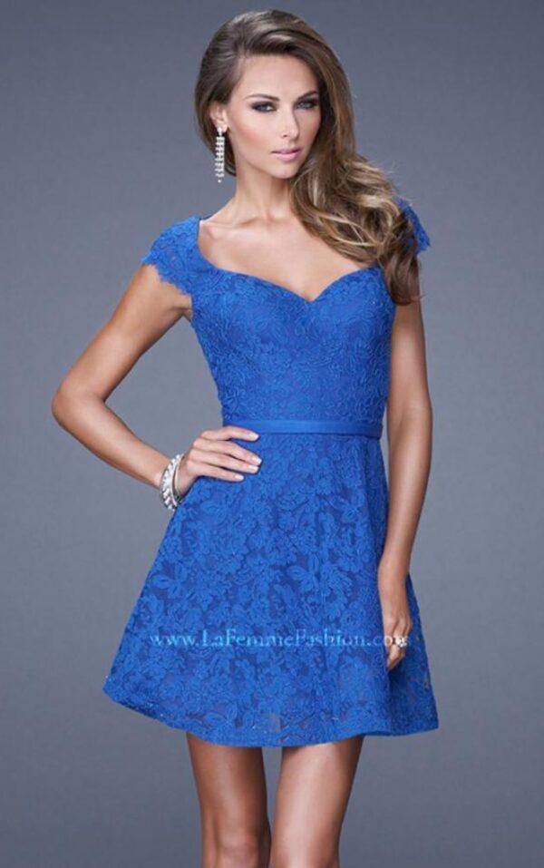blue dress on model