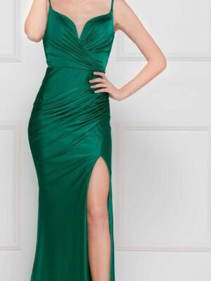 front of emerald dress