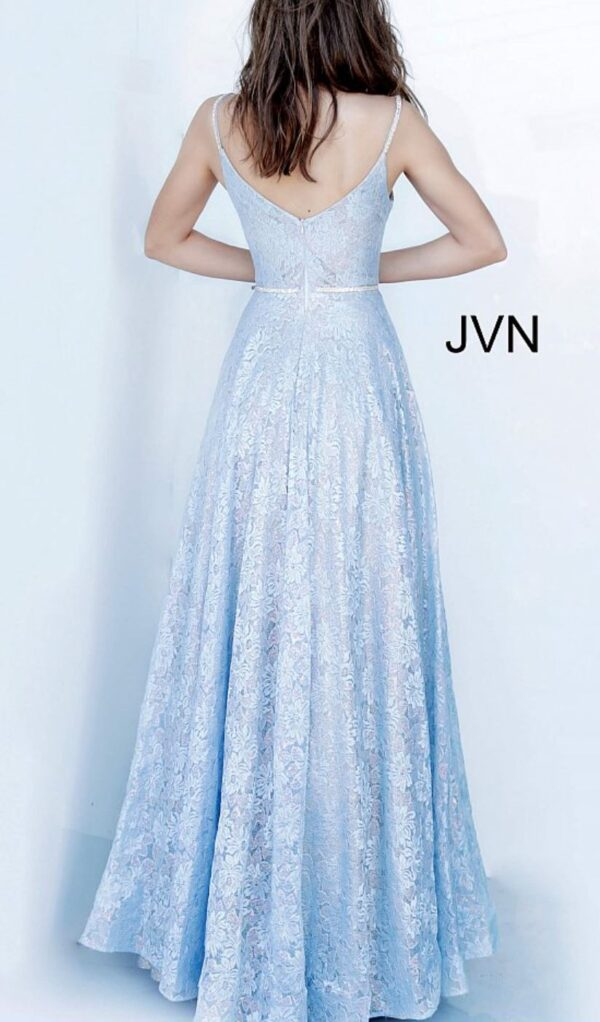 back of light blue gown